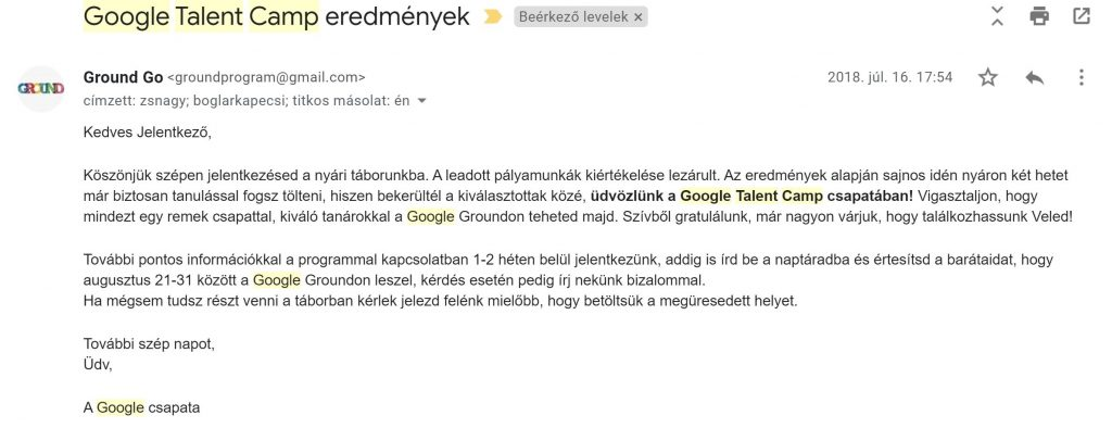 Google Talent Camp onboarding e-mail