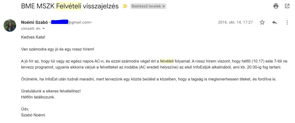 MSZK Onboarding e-mail